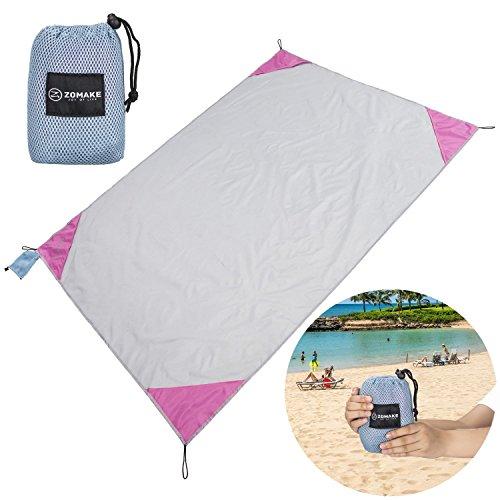 ZOMAKE XL Outdoor Stranddecke und Picknickdecke, Ultraleichte Zusammenfaltbar Campingdecke(190X145CM)(Grau und rot)