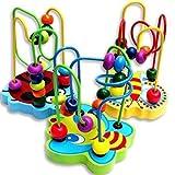 Meiqils Classico dello Mini Legno, Perline Gioco del Labirinto, di Legno Intorno del Labirinto del Branello di Apprendimento Giocattoli Educativi per i Bambini, Multicolore Radom colori immagine