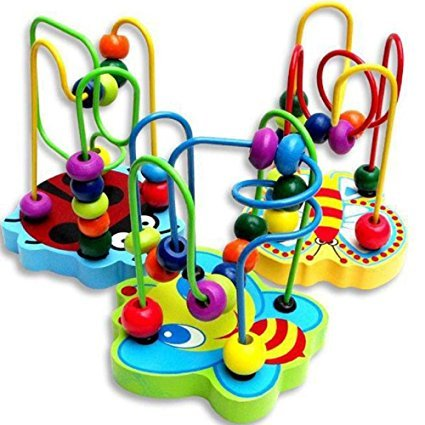 Meiqils Eudcation Toys,Children Colorful Wooden Mini Around Beads Game Toy(Random Color)
