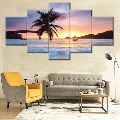 Zantec 5 piezas Cuadro de paisaje marino, pintura al óleo imagen del arte sofá de fondo decoración del hogar