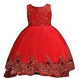 9aa4dc08c10d MISSMAO Ragazze Abito da Sposa Abito Elegante da Bambina Tutu Vestito per  Matrimoni Feste Cocktail Rosso