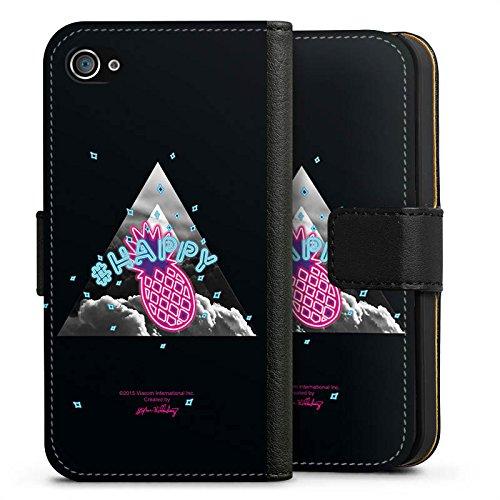 Apple iPhone X Silikon Hülle Case Schutzhülle Spongebob Fanartikel Merchandise Ananas Sideflip Tasche schwarz
