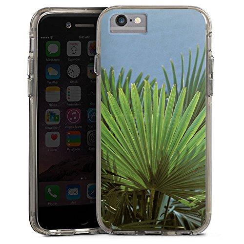 Apple iPhone 6s Bumper Hülle Bumper Case Glitzer Hülle Palme Blatt Leaf Bumper Case transparent grau