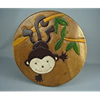 Four Seasons- Childs Carved Stool chair Cheeky Monkey Hardwood Wooden Seat Children