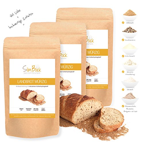 SlimBack - Lower Carb Landbrot Würzig (Brotgewürz) - 3er Pack (Ergibt ca. 1440g) - Brot Backmischung - Weniger Kohlenhydrate* | Glutenfrei | Ballaststoffreich | Sojafrei | Eiweißbrot ohne Getreide