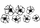 Wandtattooladen Wandtattoo - Hibiskus-Blüten Set 2 Größe:27bis40cm Farbe: Schablone