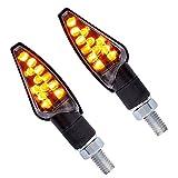 2 LED Motorrad Blinker 12V für vorne und hinten - mit E-Zeichen - Schwarz getönt + BISOMO® Sticker (10-119/1)