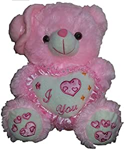 CHIKU TEDDY BEAR 18 inch [1.5 feet] --- holding I Love You Pillow --- teddy bear soft toy with side cap -- super cute valentine gift --- DINKy official (PINK)