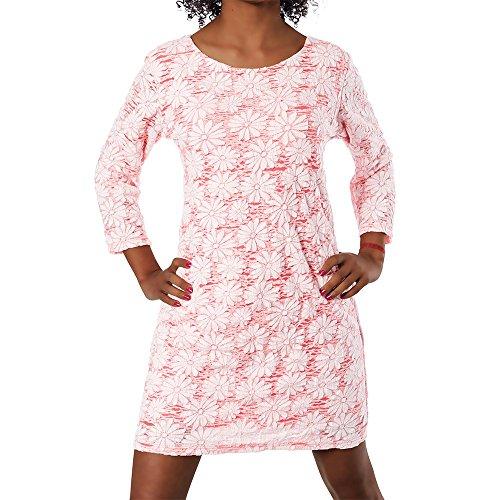 G994 Damen Longshirt Tunika Shirt Kleid Bluse Minikleid T-Shirt Longeshirt Orange