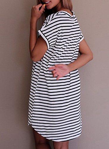 Azbro Women's V Neck Short Sleeve Striped Shift Dress White