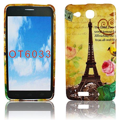 Alcatel onetouch Idol Ultra 6033 TPU Silikon PARIS LA TOUR EIFFELTURM Design Schutz Handy Hülle Case Tasche Etui Bumper thematys® (Alcatel One Touch Fall Paris)