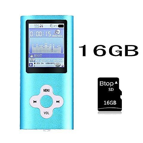Btopllc Lecteur MP3, Lecteur MP4, Lecteur de musique numérique Carte mémoire interne 16 Go, Lecteur multimédia portable et compact MP3 / MP4, Lecteur multimédia, Lecteur vidéo, Vidéo, Ebook, Lecteur de musique d'image - bleu
