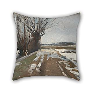 Slimmingpiggy Pillowcase 16 X 16 Inches / 40 By 40 Cm(double Sides) Nice Choice For Lover,home Office,kids Girls,adults,lover,bar Oil Painting Albert Gottschalk - Winter Landscape. Utterslev Near Co