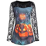 ZIYOU Damen Langarm Shirts für Halloween, Mädchen Kürbis Gesicht Drucken Sweatshirt Frauen Spitze Ärmel Tops (EU-40 / CN-XL,Schwarz-B)