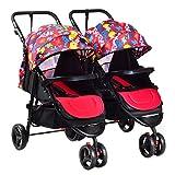Kinderwagen Kombikinderwagen Zwillinge Abnehmbar Falten Flach Sitzen Babywagen05,Pink