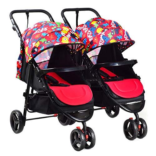 Kinderwagen Kombikinderwagen Zwillinge Abnehmbar Falten Flach Sitzen Babywagen,Redcolor - Platten Kinder Aufgeteilt Für