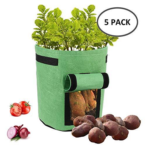 Dightyoho Pflanztasche, 5X 18L Wachsende Tasche, Vliesstoff Pflanzsack mit Griffe Pflanzbeutel für Kartoffeln, Tomaten, Zwiebeln und Erdbeeren