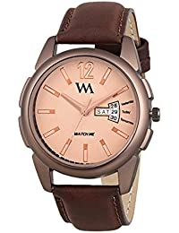 Watch Me Day Date Collection Brown Dial Brown Leather Strap Watch For Men And Boys DDWM-037 DDWM-037rto2