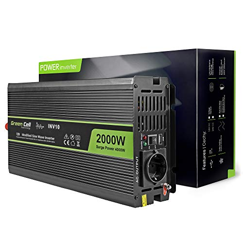 Green Cell® 2000W/4000W Modifizierte Sinus Spannungswandler Wechselrichter 12V auf 230V Modified Sine Wave Power Inverter Umwandler für Auto, Direktanschluss an Autobatterie inkl. - 2000 Inverter