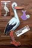 SET - Babystorch & Baby MÄDCHEN & Beschriftungstafel für draußen Geburt Storch-Holz Klapperstorch Holzstorch ROSA (EINSEITIG bedruckt, 95x45 cm)