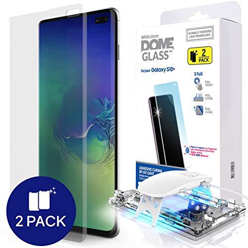 Galaxy S10 Plus Telefon-Bildschirmschutz, [Dome Glass] Gebogene Kante Keine UV Lamp von Whitestone (2 Stück) Dome-gläser