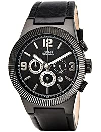 Esprit ES101671001 Superkeen Night Gents Watch Quartz Analogue Black Dial Black Leather Strap