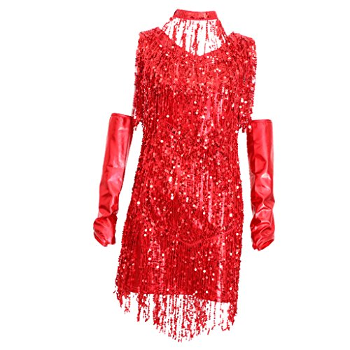 non-brand Sharplace 3 In 1 Damen Pailletten Tiefer V 1920er Stil Flappers Kleider Troddel Great Gatsby Motto Party Kleider Retro Kostüm Tanzkleid Tangokleid - Rot, M (Great Gatsby Tanz Kostüme)
