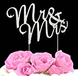 Lulu Sparkles LLC Crystal Rhinestone Bling Wedding Monogram Mr & Mrs Cake topper Wedding cake topper Bling Keepsake (1, silver clear)