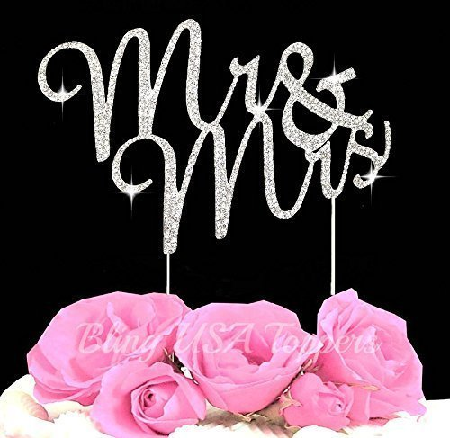 ystal Rhinestone Bling Wedding Monogram Mr & Mrs Cake topper Wedding cake topper Bling Keepsake (1, silver clear) (Herr Und Frau Wedding Cake Topper)