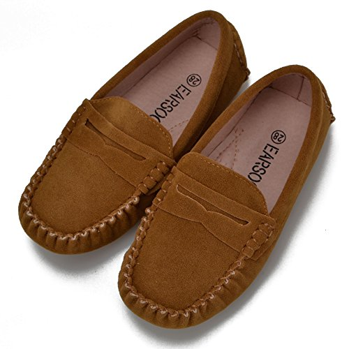 Earsoon Kids Suede Leather Loafers Shoes 2017 New Boys Girls Classic Slip-on Loafers Oxford Shoes Christmas Gift(Toddler Little Child)
