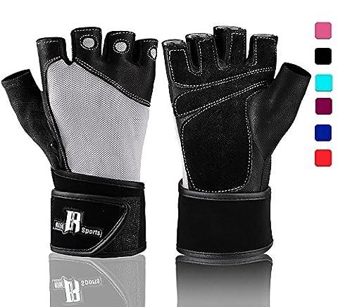 Gants d'haltérophilie avec support poignet - Gants d'entraînement avec support rembourré pour poignet pour soulever des poids, l'entraînement croisé, la dynamophilie ; gants de musculation, gants de levage de qualité, gris