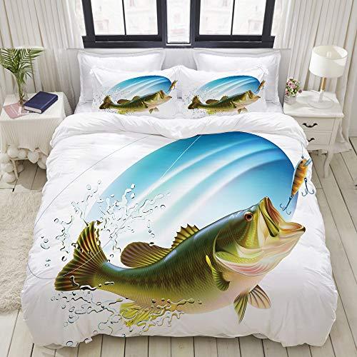 MOBEITI Bettwäsche-Set,Fischen Forellenbarsch,der einen Biss im Wasser-Spray-Bewegungs-Spritzen-Wilden Bild fängt,Dekoratives 3-teiliges Bettwäscheset mit 2 Kissenbezügen,doppelte Größe(160 x 220cm) -