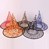 UChic 5PCS/Lot Party Decoration Halloween Witch Hat Fashion Lovely Printed Wizard Multi Colors Beautiful Gauze Hot Sale For Adults Beauty Girl Gift Hats(Ramdon Color)