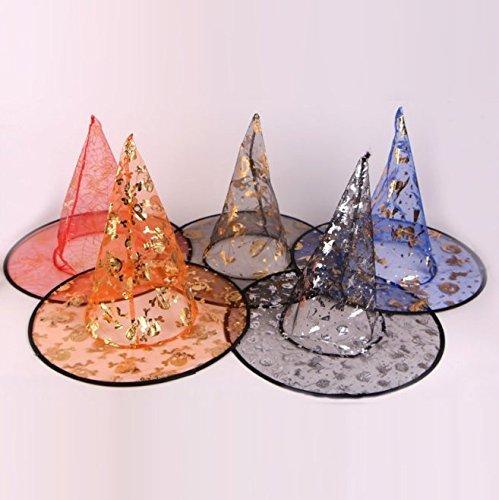 Party Dekoration Halloween Hexe Hut Mode Schöne Gedruckt Wizard Multi Farben Schöne Gaze Heißer Verkauf Für Erwachsene Schönheit Mädchen Geschenk Hüte (Ramdon Farbe) (Halloween Candy Teil 2)