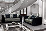 Belle Dior CRUSHED VELVET SOFA RANGE (3 + 2 SEATER SET, BLACK/SILVER)