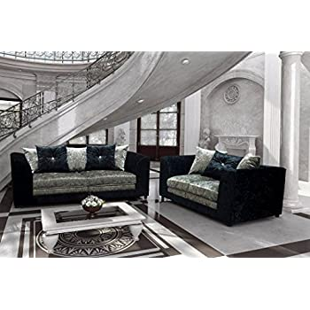 Belle Dior CRUSHED VELVET SOFA RANGE (3 + 2 SEATER SET, BLACK/SILVER