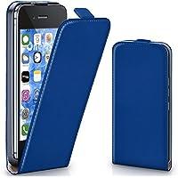 iPhone 4S Hülle Blau [OneFlow 360° Klapp-Hülle] Etui thin Handytasche Dünn Handyhülle für iPhone 4/4S Case Flip Cover Schutzhülle Kunst-Leder Tasche