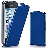 moex iPhone 4S | Hülle Blau 360° Klapp-Hülle Etui thin Handytasche Dünn Handyhülle für iPhone 4/4S Case Flip Cover Schutzhülle Kunst-Leder Tasche