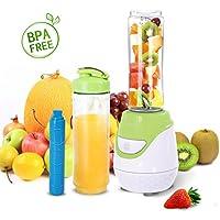 Aigostar Greenberry 30JHU - Batidora de vaso portátil con tubo refrigerante, 600W, incluye 2 vasos portátiles de Tritan de 600 ml y 2 tapas. Libre de BPA, color verde y blanco. Diseño exclusivo.