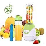 Aigostar Greenberry 30JHU - Standmixer Smoothiemaker Mini Blender, BPA-frei, 600 ml, 600 W, Persönlicher Mixer mit 1 kühl Stock, 2 Reisesportflaschen und 2 Deckel, Tritan Material in Lebensmittelqualität,Farbe grün & Weiß . Exklusives Design.