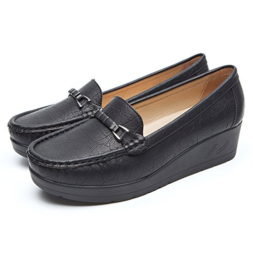 Zapatos Plataforma Cuña Negros para Mujer - Cestfini Mocasínes Cómodos de Las Señoras, Casual Planos Loafers, Adecuado para Todas Las Estaciones (37 EU, BLACK2)