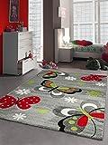 Kinderteppich Spielteppich Schmetterling Design Grau Rot Grün Schwarz Weiss Größe 120x170 cm