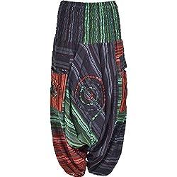 Aladdin harén Pantalones Loose Fit Pantalones Baggy Hippie Mono
