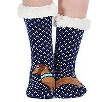Tacobear Women Fluffy Socks Slipper Socks Super Soft Fuzzy Socks Winter Warm Snowflake Fleece Lined Crew Home Animal Socks for Women and Girls (Dog C)