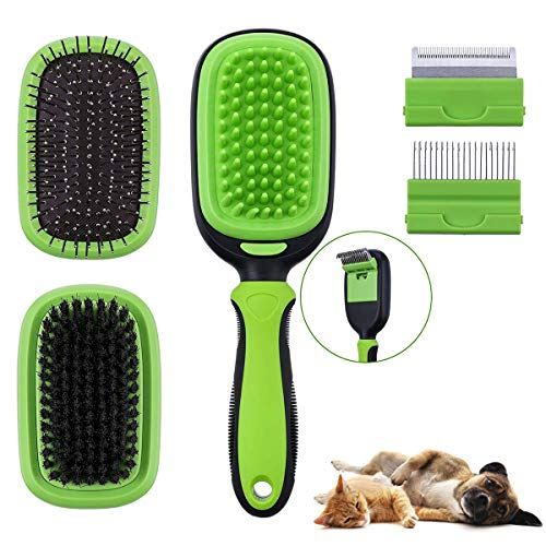Comfook Brosse de toilettage Double Face Massage Grooming Pinceau pour Chien Chat Animaux Multifonctionnel Détachable, Anti-dérapant Nettoyer Lavable 5-en-1, Vert