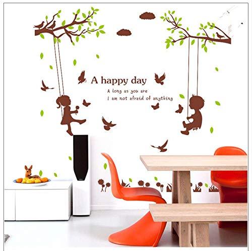Xzfddn Jungen Mädchen Auf Dem Baum Schaukel Wandaufkleber Für Schlafzimmer Kinderzimmer Kindergarten Dekoration Wandbild Ein Happy Day Zitat Kunst Poster (Auf Halloween Schaukel Dekoration Mädchen)