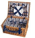 Cestino da picnic completo di articoli per la tavola in porcellana 4 persone cesto di vimini cestino da picnic salice in legno cestino da picnic in vimini set da picnic (LYP1801,Blu )