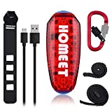 Homeet 5 LED Safety Lights USB Rechargeable Running Light Clip-on Bike Flashing Strobe Light Multi-Fonction Super Bright LED 3 Mode as Pet Collar Light, IPX4 Waterproof Bike Taillight, RED