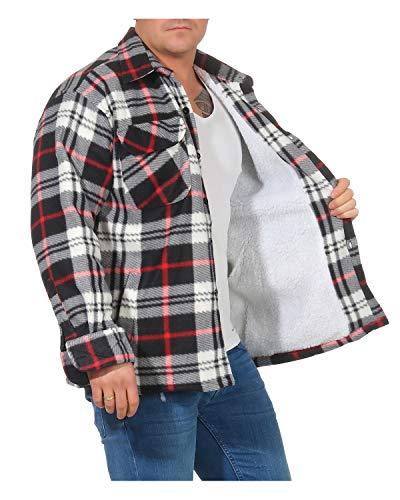 ZARMEXX Herren Thermohemd Jacke mit Plüschfell Fleece Innenfutter Karo Holzfällerjacke Arbeitsjacke Flanelljacke Kariert warm gefüttert grau/rot 3XL(58)