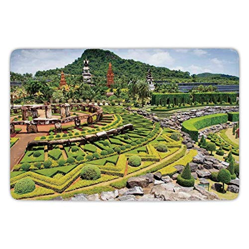 Bathroom Bath Rug Kitchen Floor Mat Carpet,Country Home Decor,Landscaping in the Garden Forest on Hill Stone Benches Pathway Trimmed Bushes,Flannel Microfiber Non-slip Soft Absorbent,31.5 X 19.68 Inch